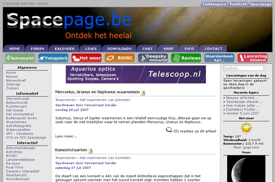 De website in 2007