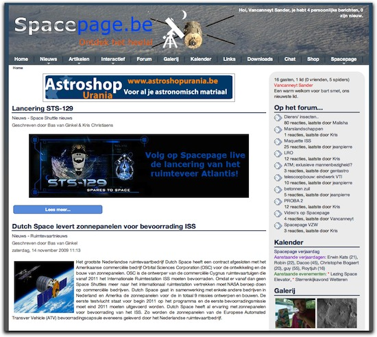 Spacepage in 2009: de layout