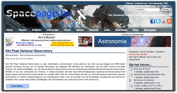 Spacepage homepage