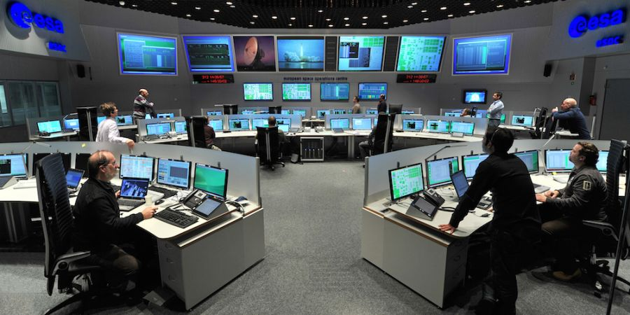 Het European Space Operations Centre (ESOC) in Darmstadt, Duitsland