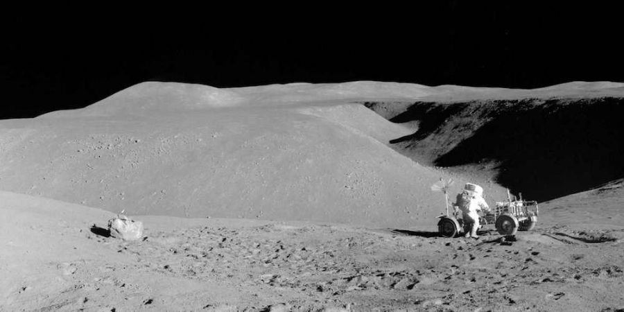 Astronaut David Scott tijdens de Apollo 15 Maanmissie